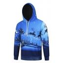 Christmas Deer Snow Forest Print Blue Long Sleeve Pocket Drawstring Unisex Hoodie