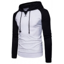 Men's Fashion Colorblock Printing Raglan Long Sleeve Sport Drawstring Hoodie