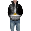 3D Galaxy Astronaut Pyramid Printed Black Long Sleeves Pullover Hoodie with Pocket