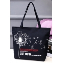 Fashion Letter Dandelion Printed Black Canvas School Shoulder Bag 33*8*40 CM