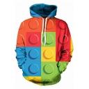 Men's Fashion Colorblock Milk Geometric Pattern Long Sleeve Hoodie with Pocket