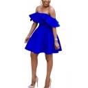 Summer Unique Off The Shoulder Short Sleeve Plain Ruffle Hem Mini A-Line Dress For Women