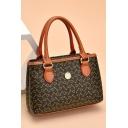 Trendy Allover Printed Button Embellishment Brown Tote Handbag for Women 22*7*14 CM