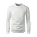 Mens Fashion Solid Color Embossing Print Long Sleeve Sweatshirt