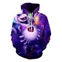 Purple 3D Comic Figure Heart Pinted Long Sleeve Hoodie with Pocket