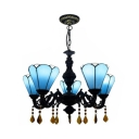 Dining Room Cone Chandelier Glass 3 Lights Tiffany Style Blue Pendant Light with Crystal Decoration