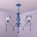 3 Lights Dome Pendant Light Mediterranean Style Metal Chandelier with Crystal in Blue for Bedroom