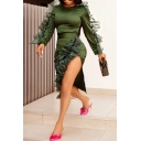 Women's Green Lace Ruffle Long Sleeve Round Neck Split Side Bodycon Pencil Dress