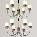 Green/Gray Cylinder Hanging Light 6 Lights Modern Metal Chandelier for Boy Girl Bedroom
