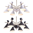 Metal Horn Hanging Light Dining Room 6 Lights Modern Style Chandelier in Macaron Black/White