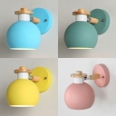 Globe Bedroom Foyer Sconce Light Metal 1 Light Simple Style Light Fixture in Macaron Yellow/Blue/Green/Pink
