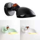 Creative Black/White/Green Sconce Light 1 Light Metal Rotatable Wall Lamp for Bedroom