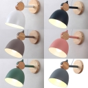 Macaron Colored Dome Sconce Light 1 Light Simple Style Metal Rotatable Wall Lamp for Girl Boy Bedroom