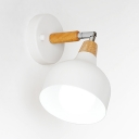 Metal Dome Rotatable Sconce Light 1 Light Nordic Style Wall Lamp in Macaron White/Green/Gray for Bedroom