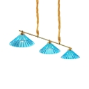 Traditional Blue Island Pendant with Cone Shade 3 Lights Fluted Glass Suspension Light for Hotel