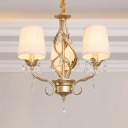 Elegant Style Tapered Shade Pendant Light Metal 3 Lights Gold Chandelier with Crystal for Bedroom
