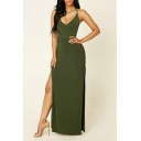 Hot Fashion V-Neck Sleeveless Plain Backless Split Detail Maxi Cami Army Green Dress