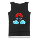 Trendy Comic Anime Character Cloud Printed Round Neck Summer Tank Top