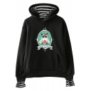 New Fashion Cute Cartoon Grumpy Cat Printed Long Sleeve Fake Two-Piece Relaxed Hoodie