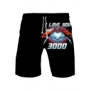 Guys Cool Iron Hand Heart Letter I LOVE YOU 3000 Drawstring Waist Black Sport Loose Sweat Shorts