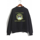 Basic Mock Neck Long Sleeve Cute Letter LOVE YOU GRUMPY CAT Casual Loose Pullover Sweatshirt