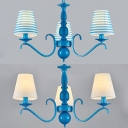 Mediterranean Style Tapered Shade Chandelier 3 Lights Fabric Pendant Lamp in Blue/White for Bedroom