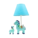 Lovely Unicorn Desk Light with Tapered Shade Fabric 1 Light Blue Reading Light for Bedside Table