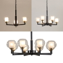 American Rustic Cylinder Chandelier Metal Glass 3/6/8 Lights Black Pendant Light for Foyer