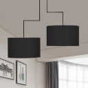 Modern Black/Coffee/White Chandelier Drum Shade 2 Lights Fabric Pendant Lamp for Study Room