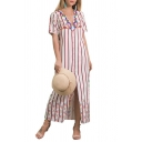 Summer Sexy V-Neck Short Sleeve Stripes Printed Split Side Button-Front Maxi Shirt White Dress For Women