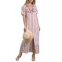 Summer Sexy V-Neck Short Sleeve Stripes Printed Split Side Button-Front Maxi Shirt White Dress For Women