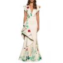 Women's Elegant Plunge Neck Cap Sleeve Floral Printed Ruffle Hem Evening Length Floor Dress