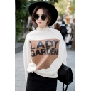 LADY GARDEN Letter Mock Neck Long Sleeve White Sweatshirt