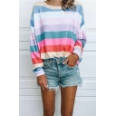 Colorblock Stripe Print Round Neck Long Sleeve Sweatshirt