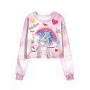 Cartoon Unicorn Heart Sun Printed RAINBOW Letter Pink Tie Dye Round Neck Long Sleeve Cropped Sweatshirt