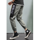 Guys New Stylish Letter Colorblock Drawstring Waist Loose Fit Cotton Cargo Pants