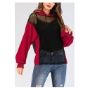 Womens Sexy Hollow Out Fishnet Mesh Panel Long Sleeve Casual Loose Hoodie