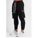 Men's Fashion Simple Letter Pocket Drawstring Waist Muscle Fitness Cotton Black Pencil Pants