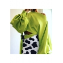 Womens New Fancy Simple Solid Color One Shoulder Lantern Sleeve Buckled Embellished Cropped Sweatshirt