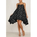 Womens Summer Holiday Trendy Vintage Polka Dot Printed Beach Asymmetrical Strap Dress