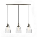 Cone Shade Pendant Light 3 Lights Industrial Clear Glass Island Lamp in Silver for Restaurant