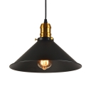 1/2/3 Pack Metal Conical Suspension Light Dining Room 1 Light Antique Style Pendant Light in Black