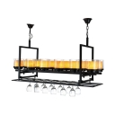 12 Lights Candle Pendant Lamp with Wine Bottle Industrial Marble Island Light in Black for Bar
