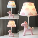 Pink Unicorn Desk Light 1 Light Macaron Resin Dimmable Study Light for Girl Bedroom