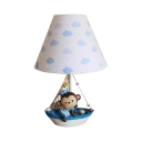 Child Bedroom Boat Monkey Desk Light Resin 1 Light Dimmable Nautical Blue Reading Light