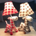 Coffee/Red Plaid Horse Reading Light 1 Light Animal Fabric LED Desk Light for Bedroom