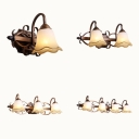 Antique Style Flower Wall Light Frosted Glass 1/2/3/4 Lights Bronze Sconce Light for Bedroom
