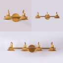 Metal Conical Shade Sconce Light 2/3/4 Lights Traditional Brass Vanity Light in Neutral for Bedroom
