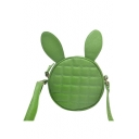 New Stylish Plain Rabbit Ear Patched Round Quilted Crossbody Bag