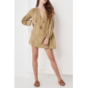 Womens Trendy Khaki Leopard Printed V-Neck Lantern Long Sleeve Casual Loose Mini Dress